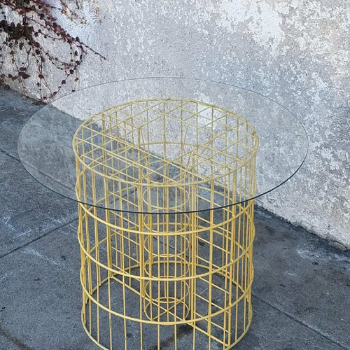 Sunbeam vintage side tables vintage yellow wire coffee table side table keyboard keysfo Image collections