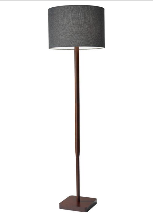 Simple Sleek Walnut and Grey Tweed Floor Lamp