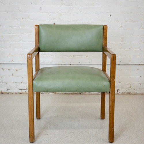 Great Vintage Green Oak Chair