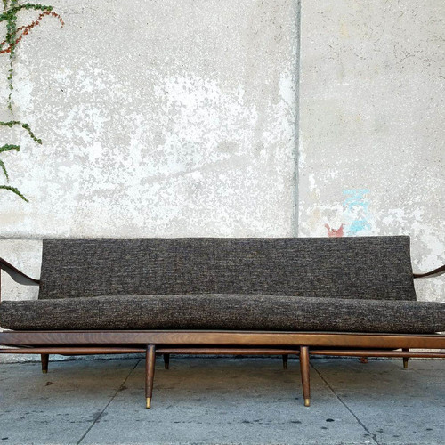 Original Vintage Red Danish Modern Sofa