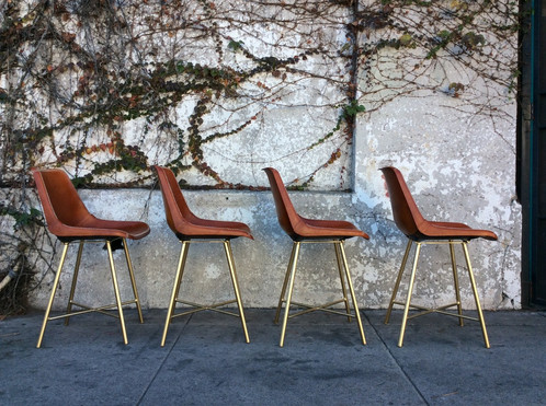mid century leather and gold dining chairs