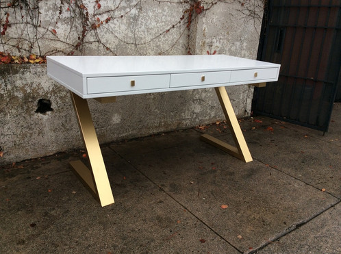 Mid Century Modern White And Gold Desk 59 W X 23 D 30 5 H Please Call To Order This Is A Special Table