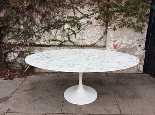Tulip  Oval Marble Dining Table Sunbeamvintage - Oval marble dining table