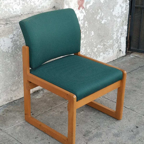 Teal Accent Chair With Gold Lines