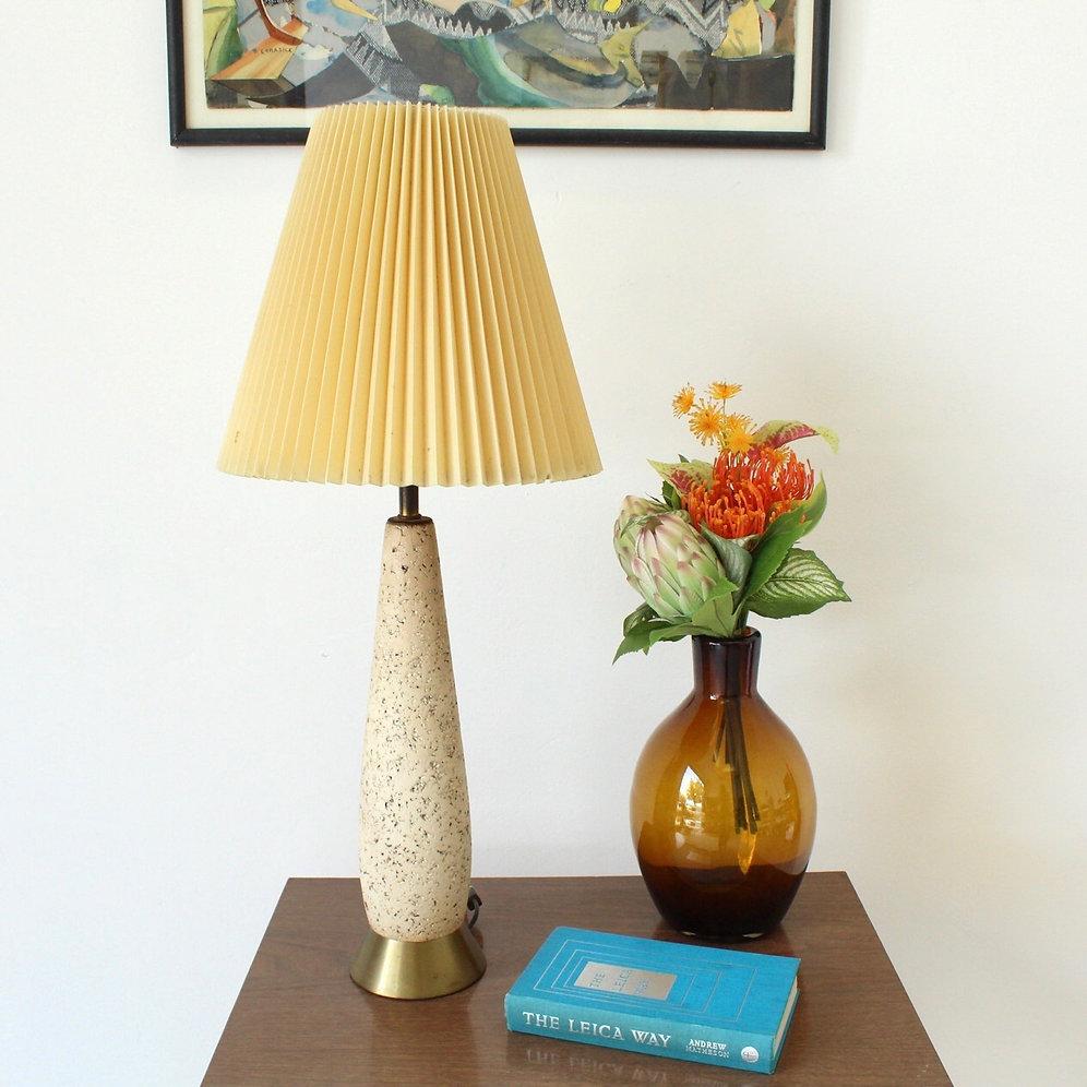 Vintage Stoneware Lamp With Brass Base Sunbeam Vintage