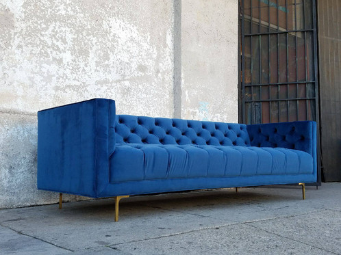 Milo Tufted Deep Blue Velvet Sofa 89 1 2 L X32 W X 27 H16 Seat Height 1600 This Item Has A 3 Week Lead Time If Your Order Is Sensitive