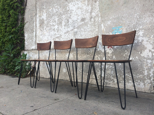 Solid Acacia Chair With Hairpin Legs