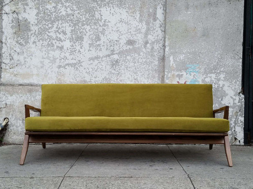 Incroyable Juno Sofa In Chartreuse Velvet 75 L X 33 W 28 H 16 Seat Height $1395