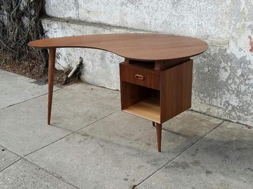 Gorgeous Genuine American Walnut Boomerang Desk