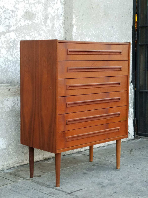 vintage teak danish modern 6 drawer highboy dresser