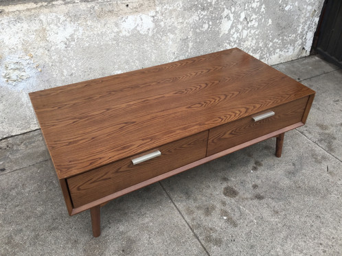 double drawer mid century coffee table | sunbeam-vintage