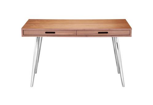 mid century sleek walnut desk w/2 drawers | sunbeam-vintage