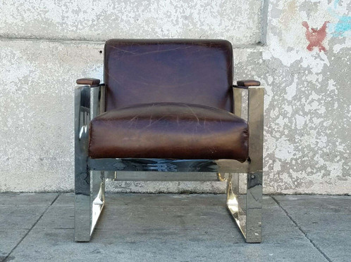 chrome and tobacco brown leather lounge chair - Leather Lounge Chair