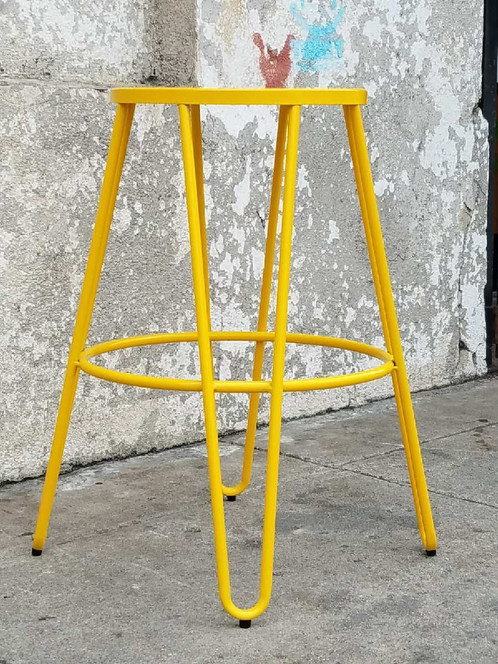 Yellow Metal Counter /Bar Stools with Hairpin Legs 17 L X 17 W X 26 H $295  for Pair - Yellow Metal Counter /Bar Stools With Hairpin Legs Sunbeam-vintage
