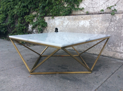 Marble Geometric Coffee Table Wbrass Base - Geometric marble coffee table