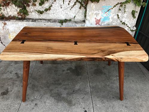 Boho Modern Solid Acacia Mid Century Dining Table - Solid wood mid century dining table