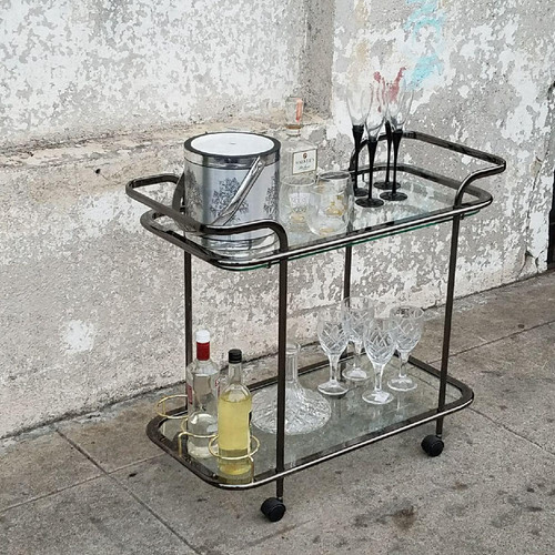Vintage Smoked Chrome And Br Bar Cart Made In Italy