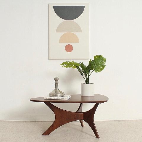 Walnut Mid Century Modern Triangular Coffee Table Sunbeam Vintage