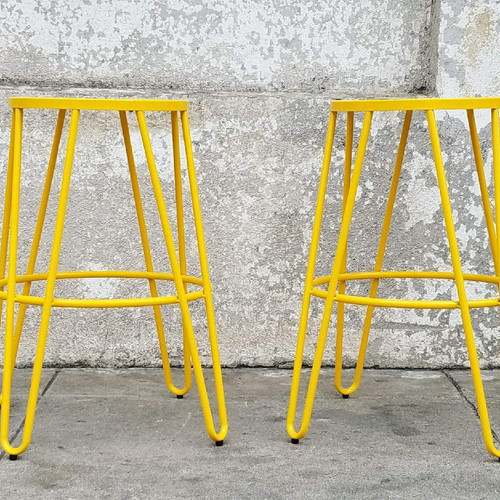 Yellow Metal Counter /Bar Stools with Hairpin Legs - Sunbeam-vintage Barstools/Counter Stools