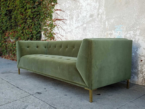 Soft And Comfortable Sage Green Velvet Sofa. Measures 86 1/2 L X 34 1/2 D  29 H X 17 1/2 Seat Height