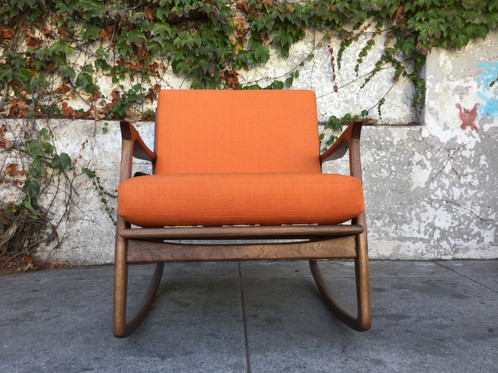 Our Sunbeam Exclusive Newly Made Solid Walnut Mid Century Style Orange  Rocking Chair Available In Over A Dozen Different Colors.