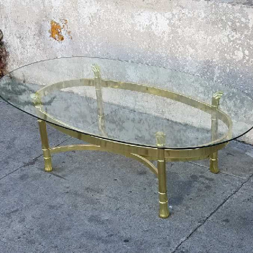 Vintage Brass Oval Coffee Table