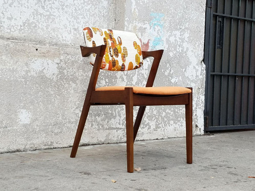 Classico Danish Style Dining Chairs W/vintage Fabric 20 L X 21 W X 30 1/2  H17 1/4 Seat Height$1000 All 4