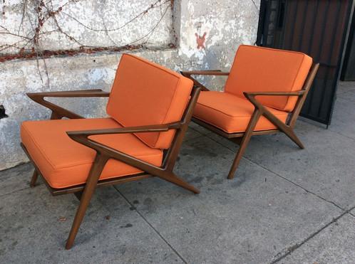 Mid Century Z Chair In Orange 29 W X 30 D 27 H 750 Each