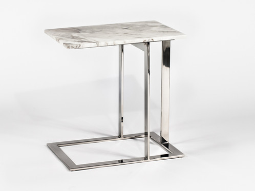 Mid Century Modern Marble Side Table With Chrome