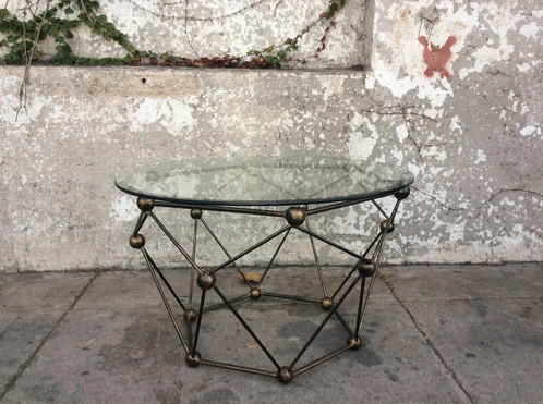 mid century style glass and brass coffee table | sunbeam-vintage