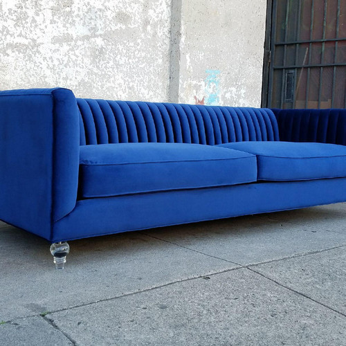 Royal Deep Blue Sofa With Lucite Legs