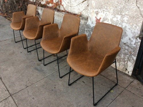 Vintage Leather Dining Chairs mid century style brown faux leather dining chair | sunbeam-vintage