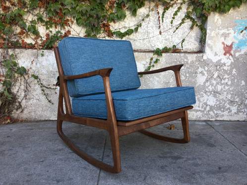 Our Sunbeam Exclusive Newly Made Solid Walnut Mid Century Style Cerulean Blue  Rocking Chair Available In Over A Dozen Different Colors.