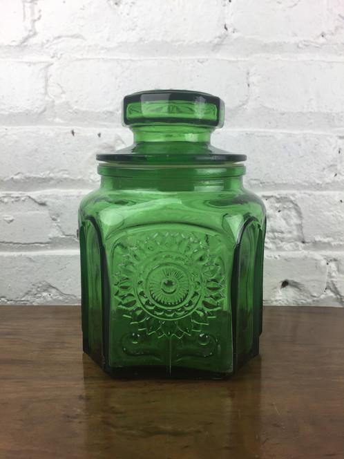 Green Glass Jar W/Lid