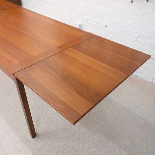 Vintage Danish Teak Refinished Dining Table With Pull Out Leafs By Kontrol 87 W X 32 D 29 H 47 5 O 1395