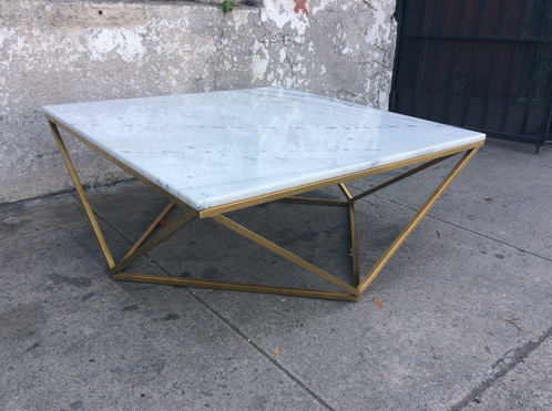 Marble Geometric Coffee Table Wbrass Base - Geometric base coffee table