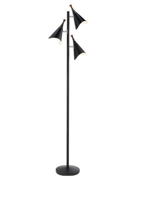 Mid century black 3 head modern floor lamp aloadofball Gallery