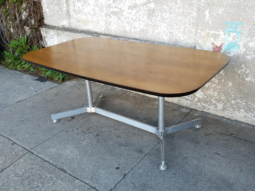 Vintage Walnut Top Aluminum Base Dining Table Sunbeamvintage - Aluminum dining table