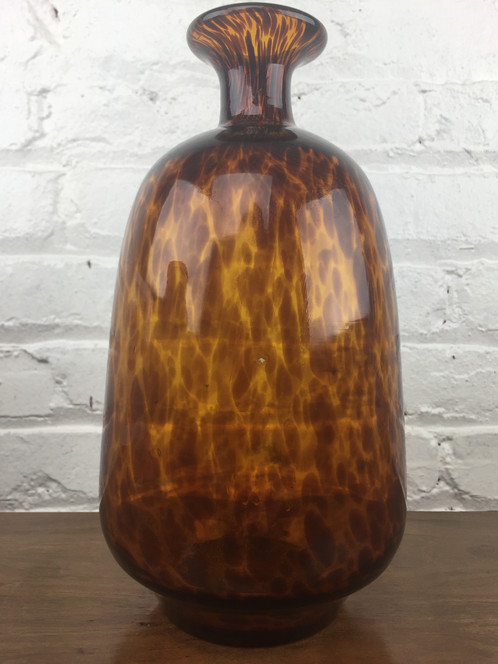 Tortoise Shell Amber Glass Vase