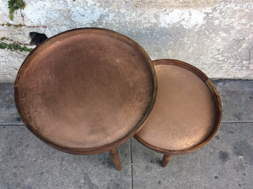 Round Wood And Copper Nesting Tables