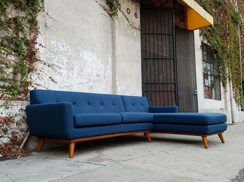 Navy Blue Tweed Sofa Sectional W/chaise   110 L X 69 D X 33 H 20 1/2 Seat  Height
