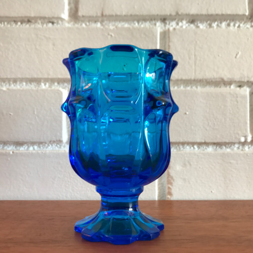 mid century vintage blue glass vase candy dish