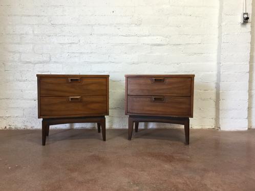 Mid Century 2 drawer pair of Walnut Nightstands | sunbeam ...