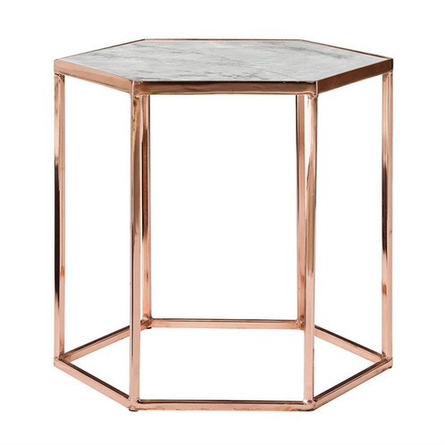 Hexagon Copper And Marble Side Table Sunbeamvintage - Hexagon marble coffee table