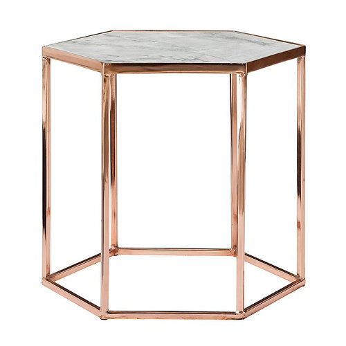 Hexagon Copper And Marble Side Table