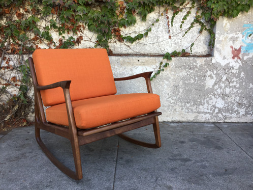 Ordinaire Our Sunbeam Exclusive Newly Made Solid Walnut Mid Century Style Orange  Rocking Chair Available In Over A Dozen Different Colors.