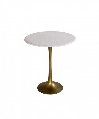 Marble Top Brass Base Tulip Side Table