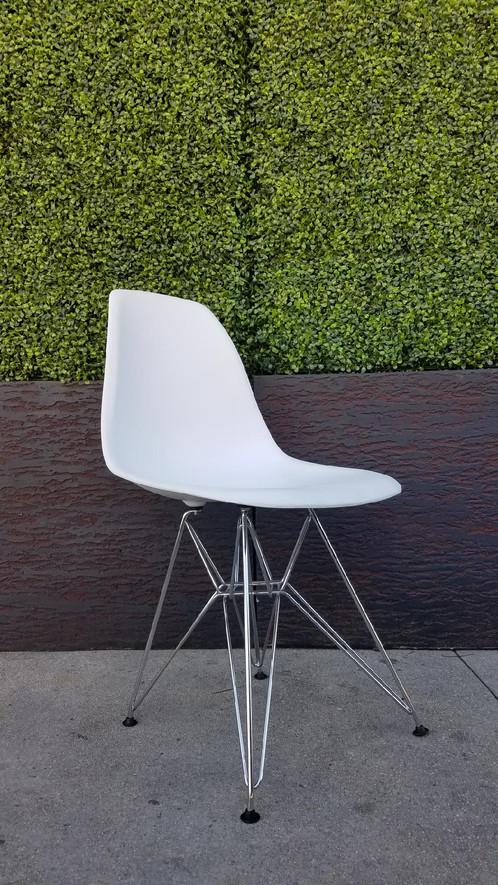 White Shell Chair With Chrome Legs
