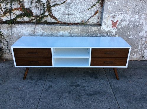 mid century style white and walnut media console