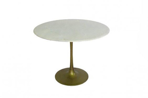 Tulip Dining Table w Marble top Brass Base sunbeam vintage